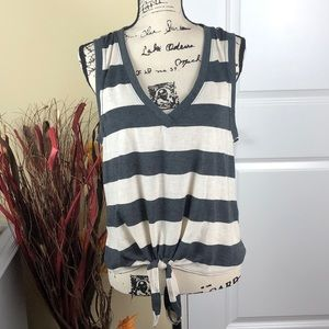 Socialite Gray striped top - NWT